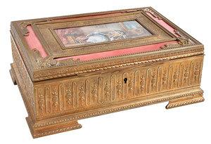 French Doré Bronze and Enameled Dresser Box
