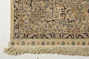 Persian Silk Rug with Hunt Scenes