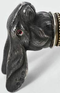Faberge Style Silver and Enamel Rabbit Cane Top