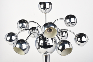 Two Modern Chrome Sculptural Table Lamps