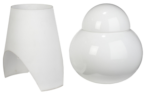 Two Modern White Glass Table Lamps