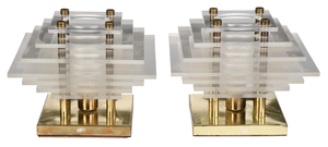 Pair of Modern Brass and Plexiglass Table Lamps