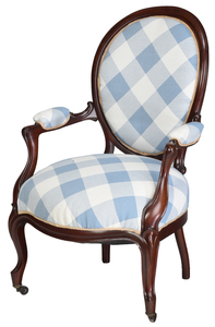 Victorian Style Mahogany Upholstered Arm Chair