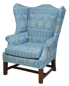 Chippendale Style Upholstered Wing Back Armchair