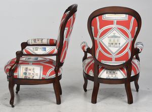 Assembled Pair of Victorian Upholstered Armchairs