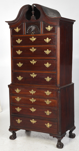 Boston Chippendale Style Mahogany Chest on Chest