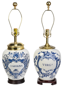 Pair of Blue and White Tobacco Lamps