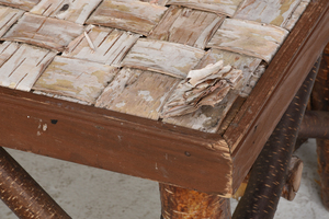 Rustic Woven Birch Bark Low Table