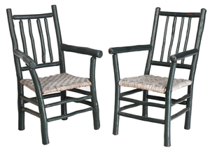 Pair Old Hickory Green Painted Arm chairs