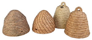 Four Coiled Rye Straw Bee Skeps