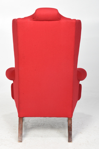 Queen Anne Style Red Upholstered Easy Chair