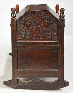 Charles II Carved and Joined Oak Cradle