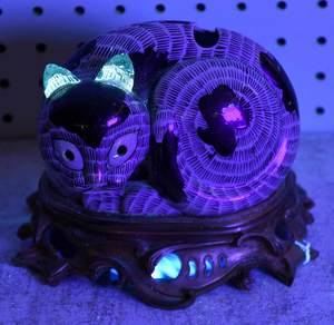 Chinese Export Porcelain Cat Nightlight