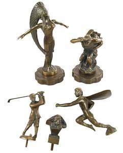 Five Bronze Figural Car Mascots, Radiator Caps