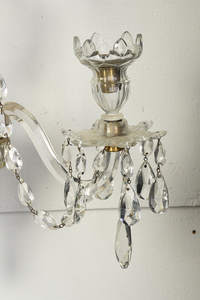 Pair Adam Style Cut Glass and Brass Wall Sconces