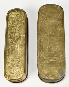 Two Dutch Brass Tobacco Boxes