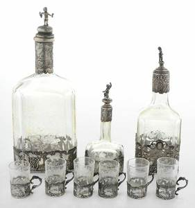 Silver and Glass Cordial Set, Nine Pieces