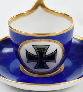 Four KPM Memorial Cups and Saucers