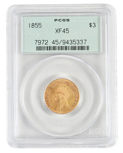 1855 Three Dollar Gold