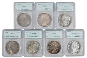 Group of Seven PCGS Rattler Holders