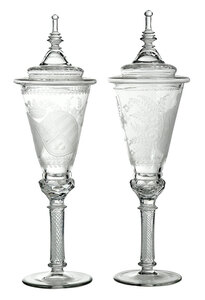 Pair of Engraved Glass Pokals with Coat of Arms