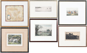 Six Framed, Sporting, Outdoor Scenes, Map