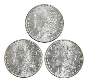 Ten Uncirculated 1887 Silver Morgan Dollars