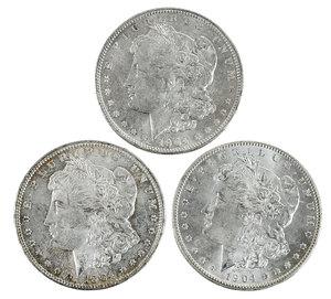 Ten Uncirculated 1904-O Silver Morgan Dollars
