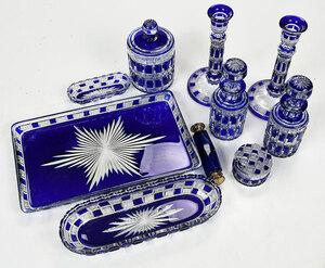 10 Piece Cut to Clear Blue Glass Dresser Set