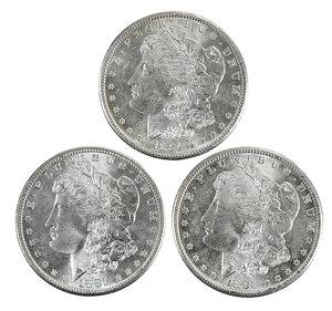 Ten Uncirculated 1881-S Silver Morgan Dollars
