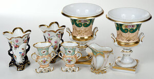 Seven Pieces Paris Porcelain Garnitures