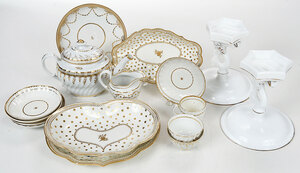 20 Pieces of Gilt Decorated Porcelain and Glass
