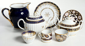 38 Pieces Assembled Cobalt and Gilt Porcelain