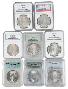 Group of Eight Graded Silver Dollars