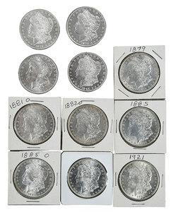 11 Uncirculated Silver Morgan Dollars