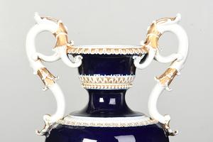 Large Meissen Cobalt Blue and Gilt Porcelain Urn