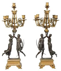 Pair of Continental Gilt Bronze Candelabra