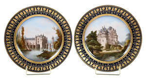 Two Sevres Gilt and Cobalt Blue  Painted Plates