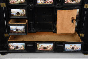 Viennese Enamel and Ebonized Table Cabinet