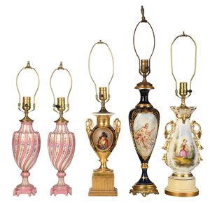 Group of Five Continental Porcelain Lamps