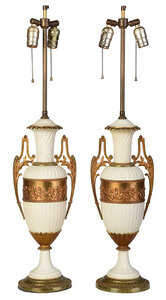 Pair of Bisque Urn Form Table Lamps