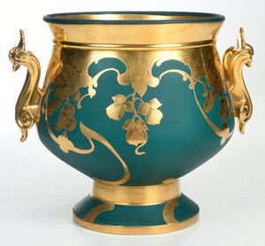Limoges Green and Gilt Decorated Center Bowl