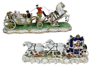 Two Porcelain Horse and Carriage Figural Groups