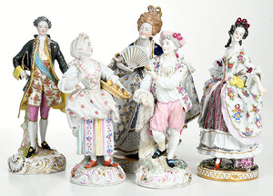 Five German Handpainted Porcelain Figures