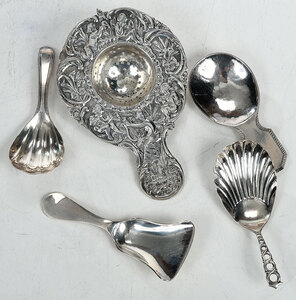 Four Silver Tea Caddy Spoons and Strainer