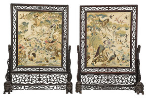 Fine Pair Chinese Silk and Hardwood Table Screens