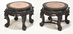 Pair of Chinese Marble Inset Taborets