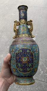 Very Fine Chinese Cloisonne and Gilt Vase