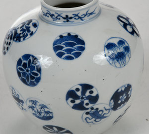 Chinese Blue and White Decorated Medallion Jar