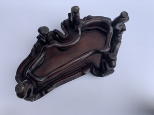 Bronze Qilin Mirror Stand on Wood Base